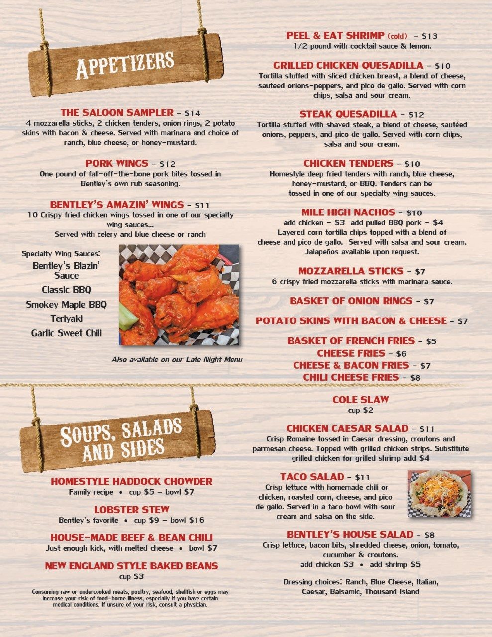 Bentley's food menu2