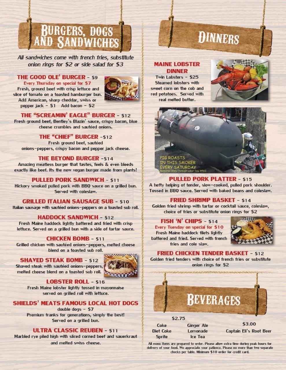 Bentley's food menu3