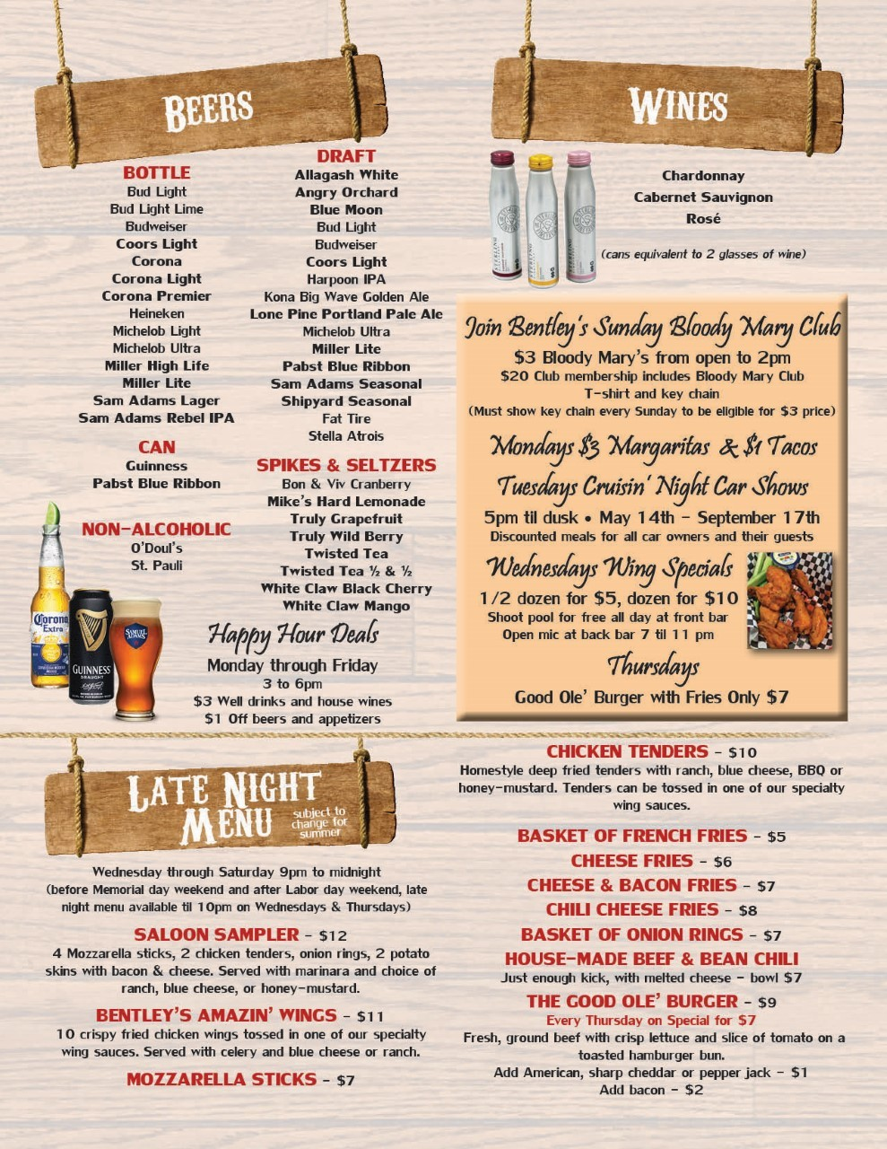 Bentley's food menu4