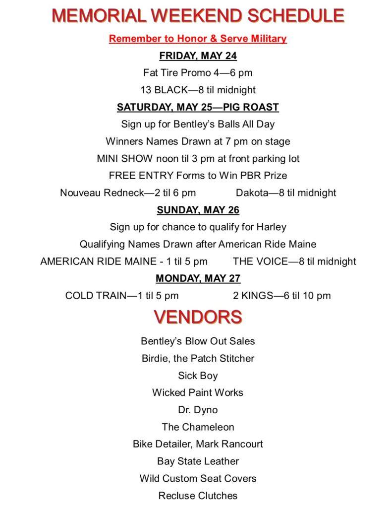 Memorial Wknd Schedule