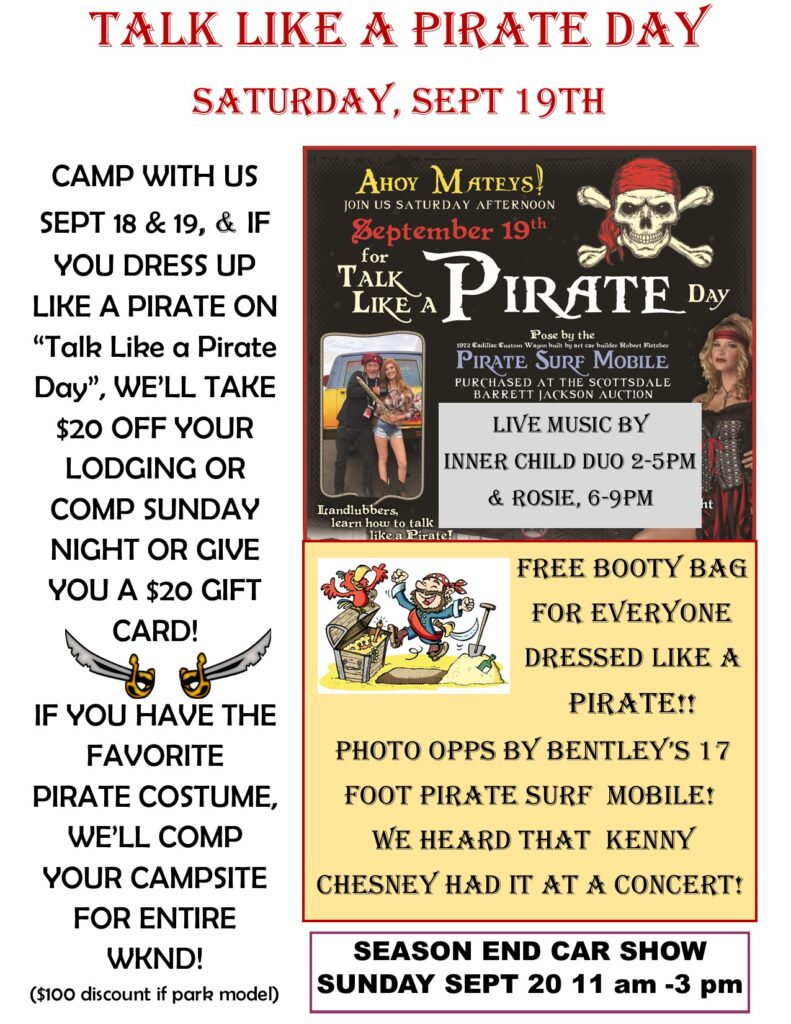 Pirate Day and camping deal