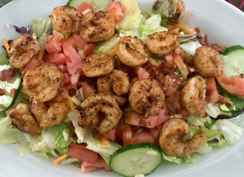 bentley house salad with grilled shrimp